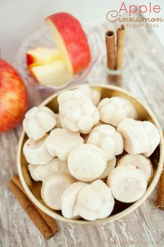 Apple Cinnamon Protein Yogurt bites recipe, a Healthy and easy snack to blend, pour into ice cube trays, and enjoy an hour later.  Quick treat for the kids to enjoy on-the-go. Capturing-Joy.com