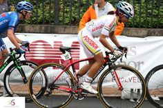 Pro Racer from Team Colombia racing with Stradalli Bike at Richmond 2015 UCI Road World Championships