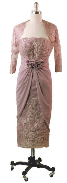 """""""Dusted Violette"""" short lilac purple sheath dress with bolero sleeves from Victorian Trading Co."""
