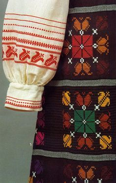 Kapsai region folk costume, Lithuania.  Detail showing tulip motif.