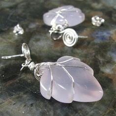 Chalcedony leaf earrings, lavender, sterling silver, handmade posts | bohowirewrapped - Jewelry on ArtFire