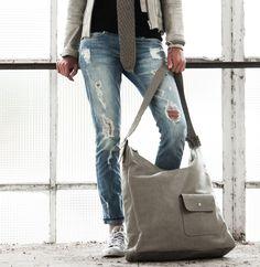 Hebben, hebben, hebben... Basic tas XL, klei-grijs, Zusss Bij WOON WERK SFEER
