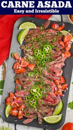 Carne Asada is an easy recipe that you will fall in love with. Full of delicious flavor, this recipe will become a favorite for taco night! Mexican Food Recipes, Vegetarian Recipes, Healthy Recipes, Spanish Recipes, Beef Recipes Hamburger, Hamburger Seasoning, Great Recipes, Dinner Recipes, Favorite Recipes