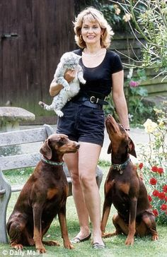 Alexandra Bastedo with some of her many animals at her home near Chichester...