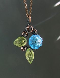 Hey, I found this really awesome Etsy listing at https://www.etsy.com/listing/222350192/blue-floral-necklace-copper-necklace