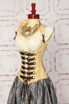 Buttery gold floral steampunk corset Damsel in this Dress- I'd recognize one of those corsets anywhere
