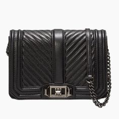 REBECCA MINKOFF Chevron Quilted Small Love Crossbody. #rebeccaminkoff #bags #shoulder bags #leather #crossbody #lining #