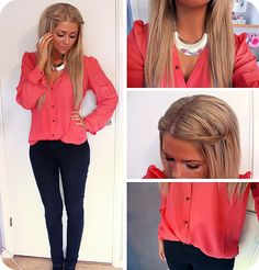 coral top and silver jewellery