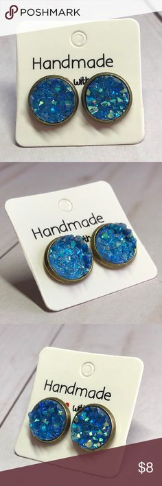 "🆕AB Blue Crystal Chunky Druzy Stud Earrings! New, Handmade by me! 🆕Size! Gorgeous Sparkling, Crystal Like Blue Chunky Druzy Style in a Vintage Bronze Frame Post Back! Approx 0.4"" Diameter, 10mm;📸These are My pic's Of Actual Item you will receive!   ▶️3 For $15! Add to Bundle & offer price! Each Additional item is $5! EX: 4-$20, 5-$25, etc...◀️ • Druzy Stud Earrings for pierced ears • Nickel, Lead & Cadmium Free  *NO TRADES *Price is FIRM as Listed!  *Sales are Final-Please Read…"