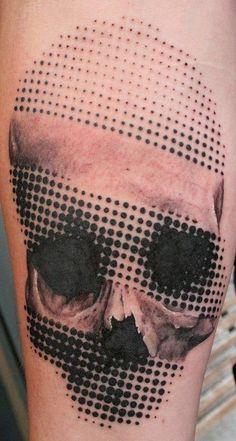Amazing Lovely Halftone Skull Tattoo ~ Skull Tattoo Ideas #33