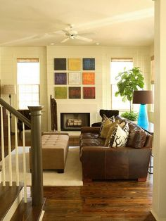 In a neutral room, using the colorful squares as a design is a good idea.  Thinking of using actual photos (printed in a single color scheme) and making a graphical design on my large wall
