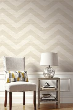 Light neutral chevron wallpaper with string from Wallquest's White on White Collection