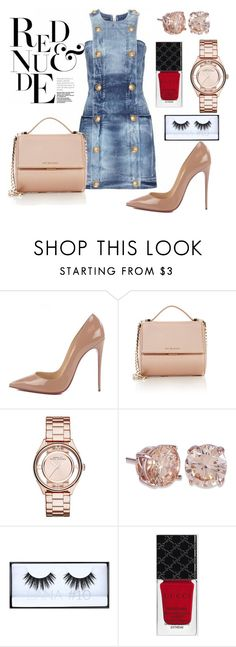 """""""Red and Nude"""" by nattaca on Polyvore featuring Christian Louboutin, Givenchy, Marc by Marc Jacobs and Gucci"""