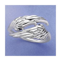 Angel Wings Ring Size 10 ($30) ❤ liked on Polyvore featuring jewelry, rings, sterling silver jewellery, angel wing ring, sterling silver feather ring, feather ring and sterling silver rings
