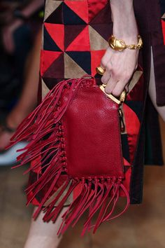 Fringe forward bag in red from Valentino.  #SS14 #Valentino
