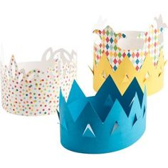 Become royalty for a day! These paper crowns are perfect for kids' birthday parties, mardi gras celebrations, or other gatherings where the royal treatment is in order. Kit makes 12 single layer crown