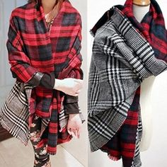Womens Ladies mens Neck Warm Tartan Check Plaid Scottish Reversible Shawl Scarf Wrap Stole Xmas gift (red): http://amzn.to/1CE5LmD