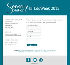 Landing page design for exhibition registration for Sensory Solutions.