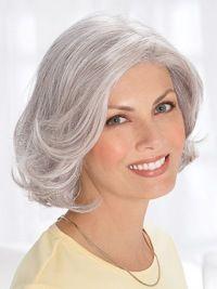 Silver Old Women Chin Length Wavy Elegent Human Wigs