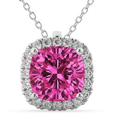 Allurez Halo Pink Tourmaline Cushion Cut Pendant Necklace 14k White... ($2,560) ❤ liked on Polyvore featuring jewelry, necklaces, rubellite jewelry, white gold pendant necklace, 14 karat gold jewelry, 14k white gold necklace and pink tourmaline necklace