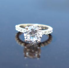 8MM Round Moissanite Diamond Ring | Solitaire With Accent Wedding Engagement Ring | Solitaire Moissanite | 10K 14K 18K White Gold Ring Most Popular Engagement Rings, Moissanite Diamond Rings, Ring Enhancer, White Gold Rings, Unique Jewelry, Wedding Engagement, Etsy, Awesome, Jewels