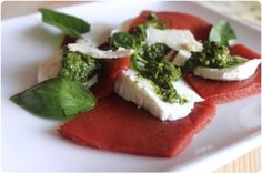 A different kind of Caprese salad with a touch of molecular cooking...