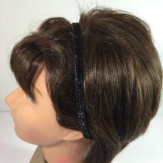 Adjustable Sequin Bow Black Alice Bands Fashion Glitzy 80/'s School Headbands