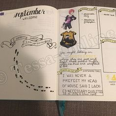 My September layout is Harry Potter themed. The characters and house crests are printed. I can't remember all the artists, but I take no credit of them. I do take credit in the layout idea, the title pages, black ink drawings and the handlettering (with the hogwarts/houses one made from an example). #harrypotter #harrypotterbujo #bulletjournal #bulletjournaling #september #bujojunkies #leuchtturm1917 #bulletjournaljunkies #artist #artistic #drawing #derwentpencils #stabilopens #micronpens