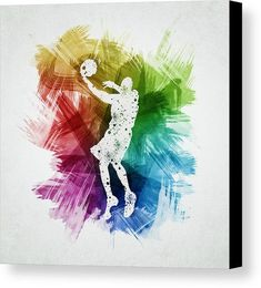 Basketball Canvas Print featuring the drawing Basketball Player Art 01 by Aged Pixel