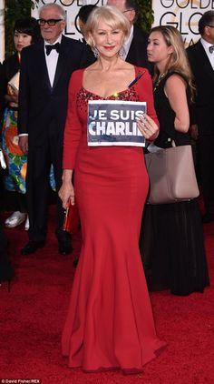 Helen Mirren shows support to Paris terrorist victims at Golden Globes #dailymail