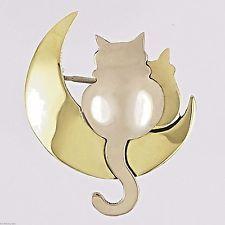 Far Fetched Moonbeam Kitties CAT PIN Brooch Alpaca Silver Mima & Oly - Gift Box