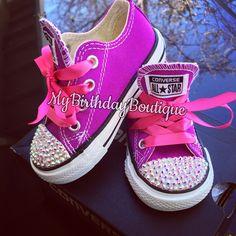 Blinged Purple converse, Swarovski converse, doc mcstuffins birthday shoes, bubble guppies converse