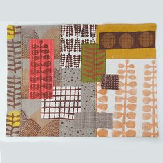 Untitled No. 5 - hand-embroidered textile collage by Jen Hewett. Block printed and silkscreened fabric. 14.5 x 19.""