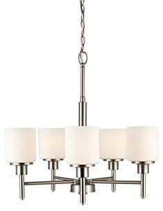 Design House 556639 Aubrey 5 Light Chandelier, Satin Nickel
