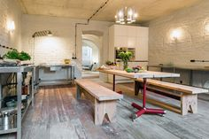 WHOA. This summer apartment near Berlin is breathtaking. Arches, stone floor, brick ceiling, pl...