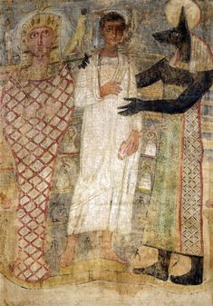 The deceased and his mummy protected by Anubis (encaustic wax on linen). Coptic, (3rd Century