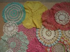 vintage pink yellow green & white lace & crochet doilies