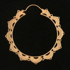Gold Plated Lotus Hoop #tawapa  My favorite hoops.