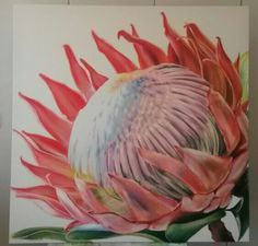 Oil on canvas by Molawrenson. Protea Art, Protea Flower, Crafts With Pictures, Art Pictures, Fabric Artwork, Contemporary Flower Arrangements, Lovers Art, Painting Inspiration, Painted Flowers