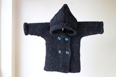 Baby Hoodie Hand Knit/ Hoodie with Pixie Hood / by RocoKnitwear