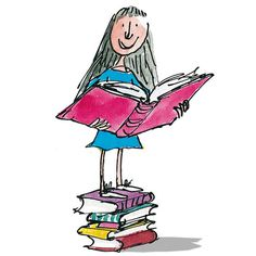Matilda by Roald Dahl. Illustration by Quentin Blake. Matilda Roald Dahl, Roald Dahl Day, Roald Dahl Characters, Fictional Characters, Matilda Wormwood, Quentin Blake Illustrations, Primary Singing Time, Primary Music, Lds Primary