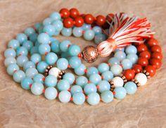 Amazonite Mala Beads Healing Jewelry Buddhist by MishkaSamuel, $65.00