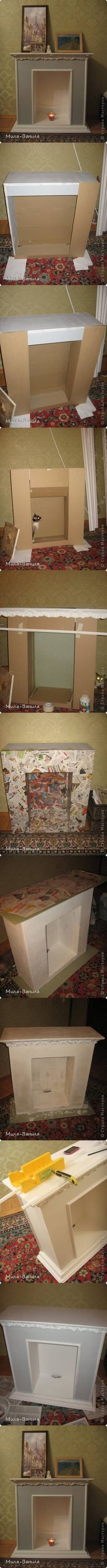 DIY Cardboard Decorated Fireplace via usefuldiy.com