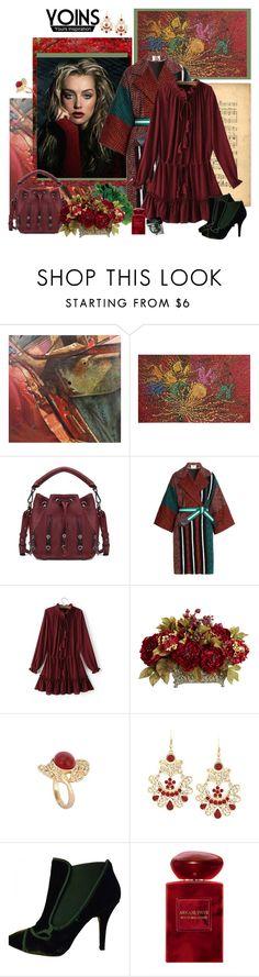 """Tie-neck Drawstring Waist Mini Dress in Burgundy"" by carola-corana ❤ liked on Polyvore featuring NOVICA, Fendi, Nearly Natural, Givenchy, Giorgio Armani, Bobbi Brown Cosmetics, vintage and yoins"