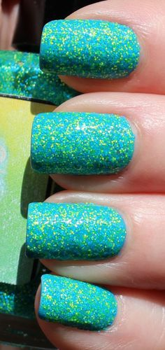 Two coats of Nail-Venturous Floam over Sally Hansen Insta-Dri in Brisk Blue, very summery