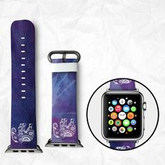 Handmade Apple Watch Strap Apple Watch Band calf Leather with Adapter - Flowers and Leaves Apple Watch Accessories, Leather Accessories, Tech Accessories, Apple Watch Bands 42mm, Apple Watch Series 2, Marble Pattern, Beautiful Watches, Quartz Watch, Watches For Men
