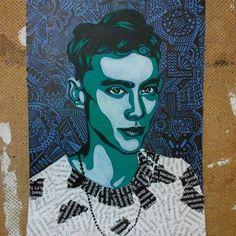 pop art + doodle art. A5 paper, acrylic paint, marker.