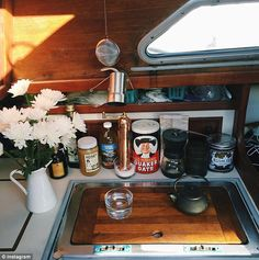 'If I live there for five months, I'll hit break-even on the rent of the apartments I was looking at,' Carter said. Pictured, the interior of her sailboat