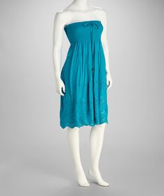 Take a look at this Turquoise Shirred Strapless Dress by SR Fashions on #zulily today!