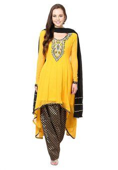 Buy Yellow Faux Georgette Readymade Anarkali Salwar Kameez online, work: Embroidered, color: Yellow, usage: Festival, category: Salwar Kameez, fabric: Georgette, price: $100.39, item code: KUZ101, gender: women, brand: Utsav